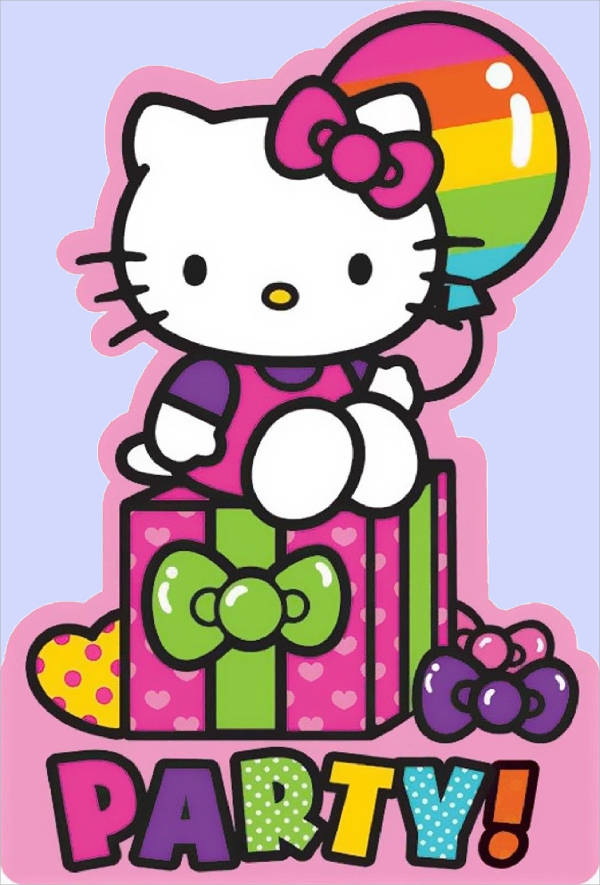 Hello Kitty Rainbow Invitation
