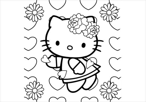 hello kitty spring coloring page1