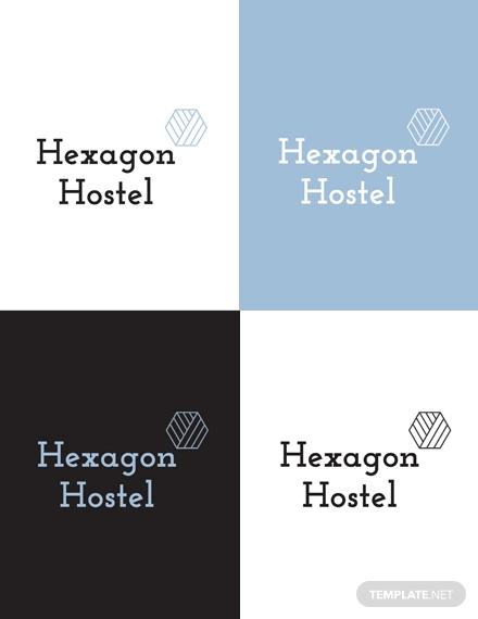 hexagon hostel logo template