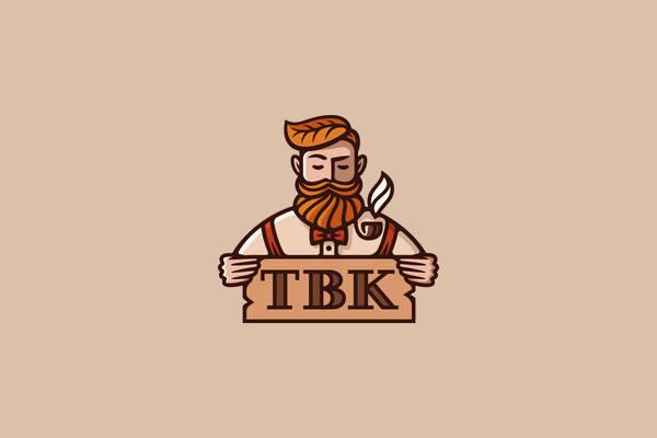 Hipster Beard Character Logo