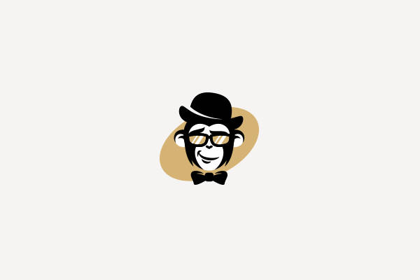Hipster BowTie Monkey Logo