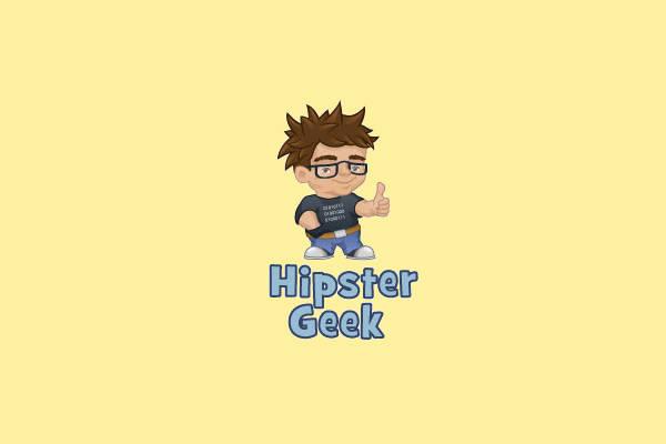 Hipster Character Geek Logo