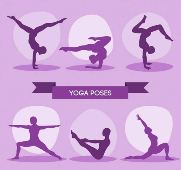 Human Yoga Poses Silhouette