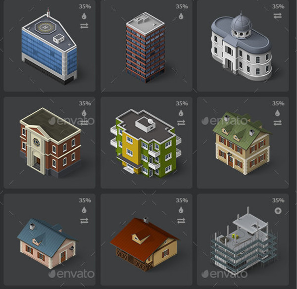 Isometric Map Icons