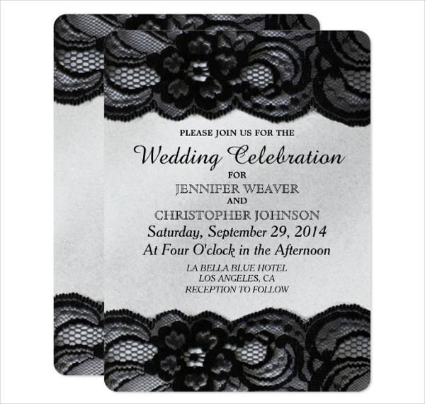 Lace Black and White Wedding Invitation