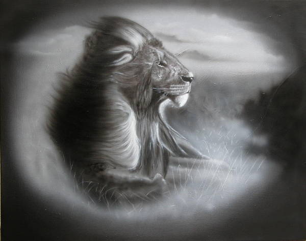 Lion Black and White Painting