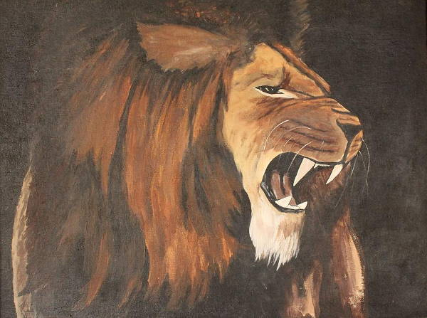 Lion Roaring Painting