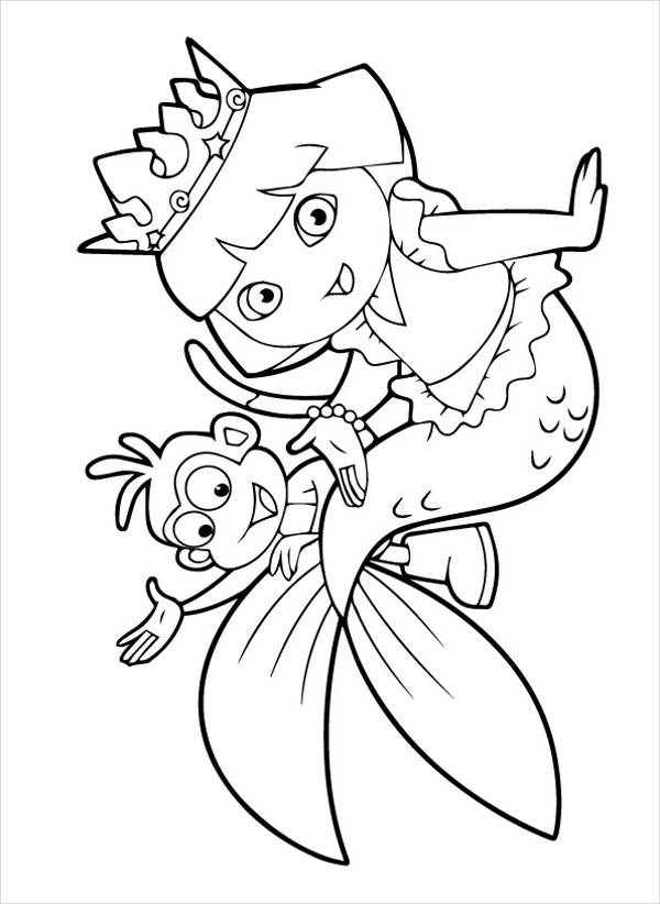 Mermaid Dora Coloring Page