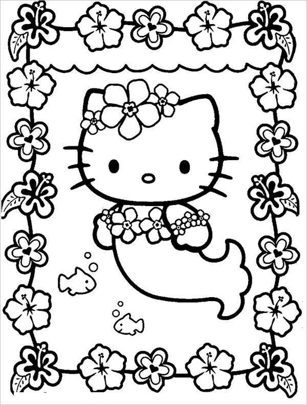 Mermaid Hello Kitty Coloring Page