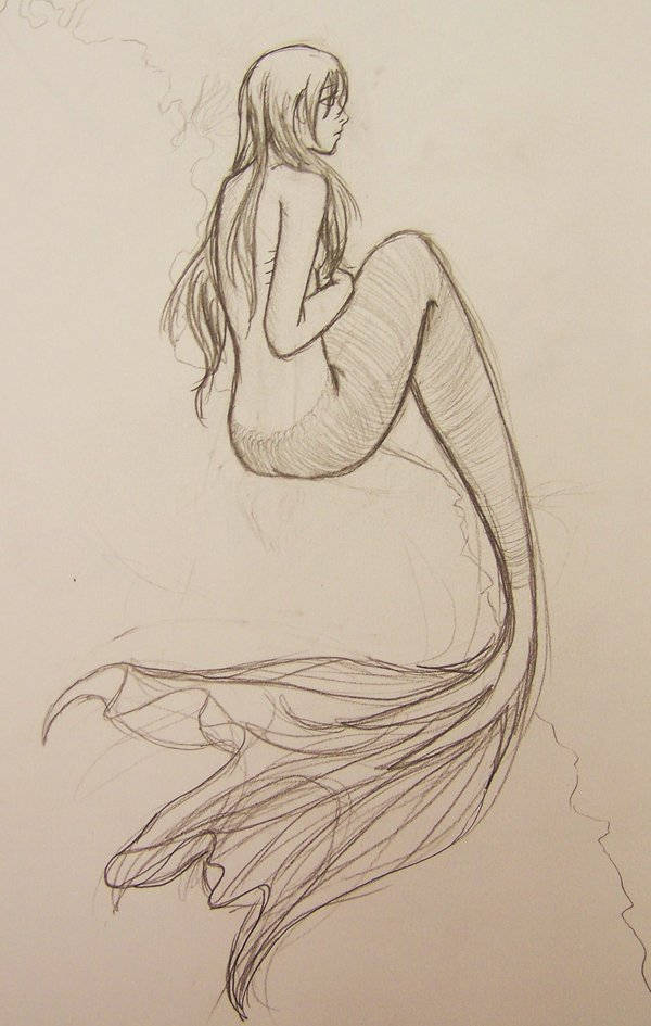 Mermaid Pencil Drawing