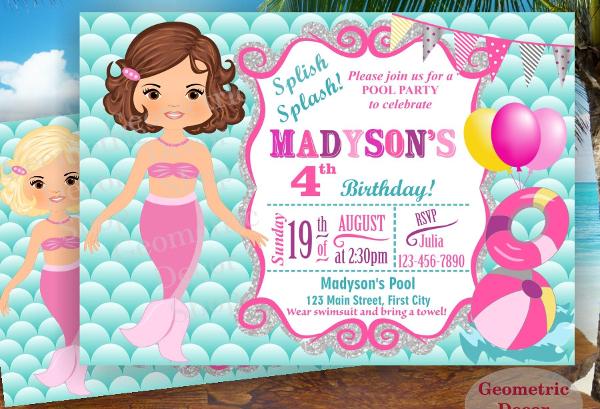 Mermaid Pool Party Invitation