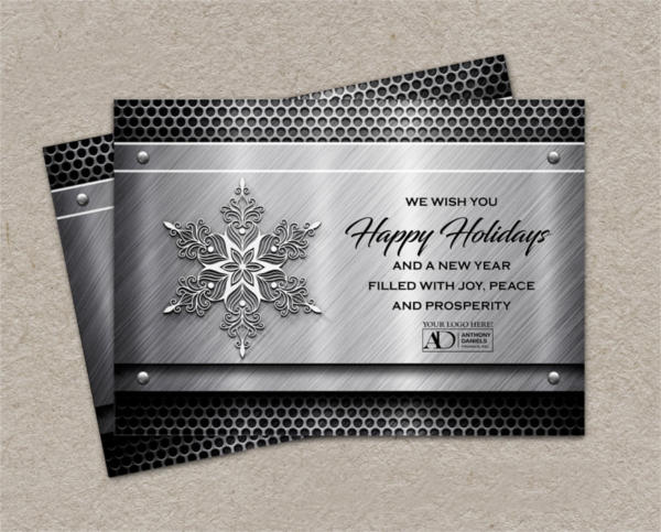 Metal Business Holiday Card