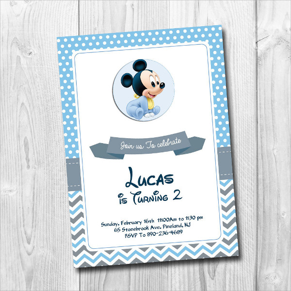 Mickey Mouse Baby Invitation