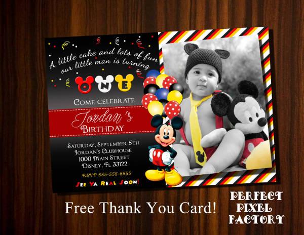 Mickey Mouse Photo Invitation