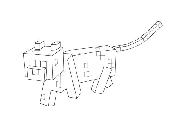Minecraft Dog Coloring Page