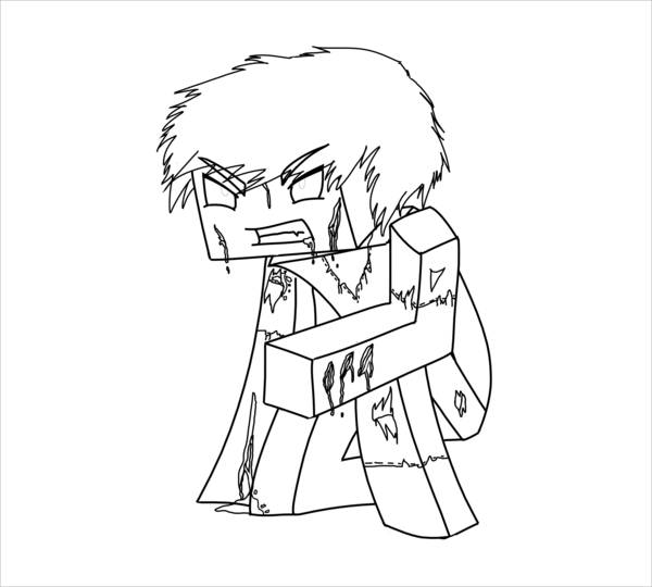 Minecraft Herobrine Coloring Page
