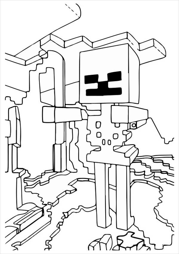Minecraft Skeloton Coloring Page