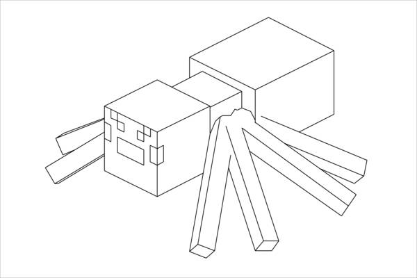 Minecraft Spider Coloring Page