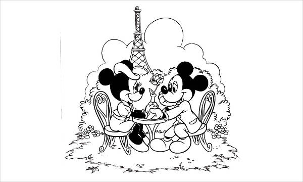 Minnie & Mickey Mouse Coloring Page