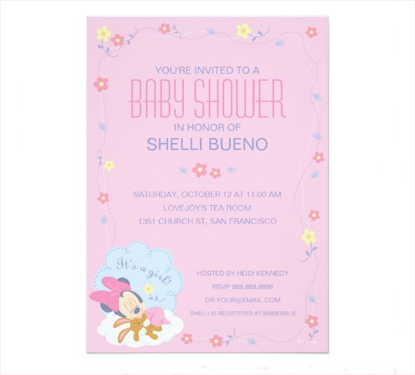 Minnie Mouse Baby Boy Shower Invitation