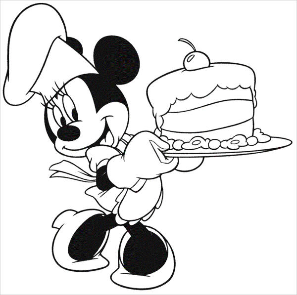 Minnie Mouse Birthday Coloring Page