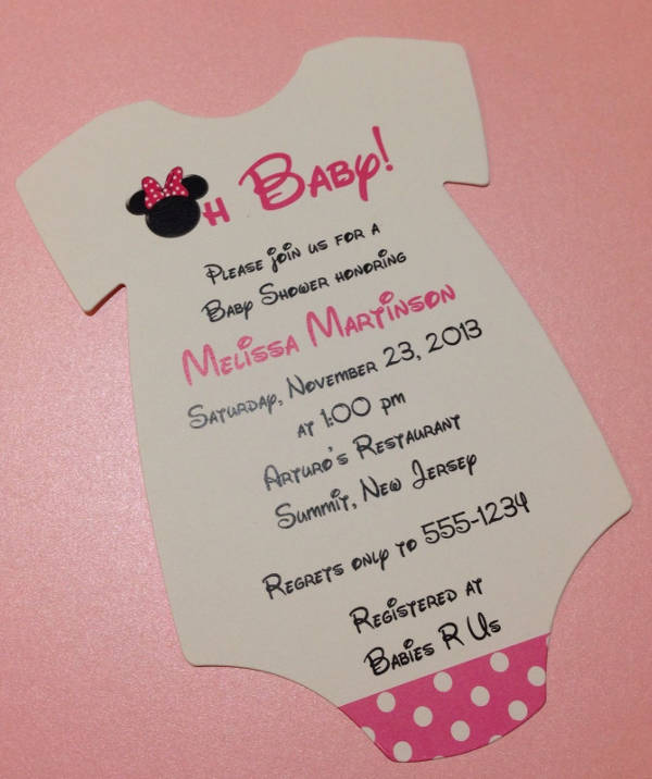 Minnie Mouse Photo Baby Shower Invitation