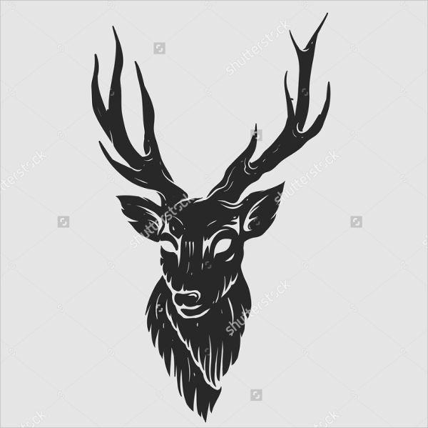 Modern Deer Head Silhouette