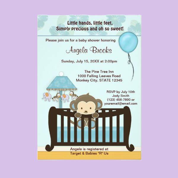 Monkey Boy Baby Shower Invitations