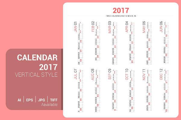 Monthly Calendar Vertical Design