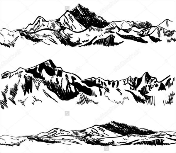 Mountain Outline Drawing