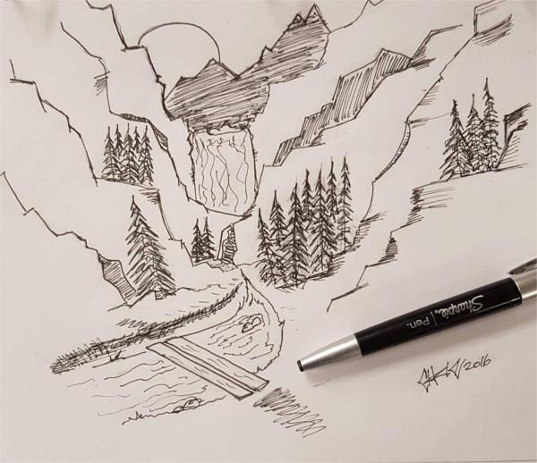 Mountain Pen Drawing