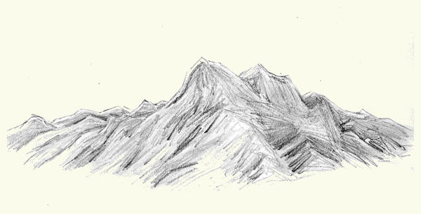 Mountain Pencil Drawing