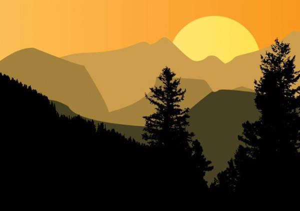 Mountain Silhouette Sunset