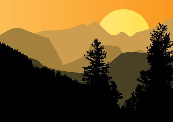 Mountain Sunset Clipart