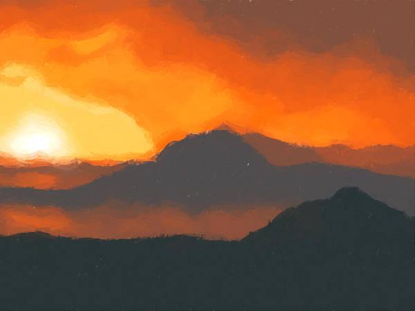 Mountain Sunset Painting