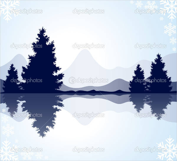 Mountain and Tree Silhouette