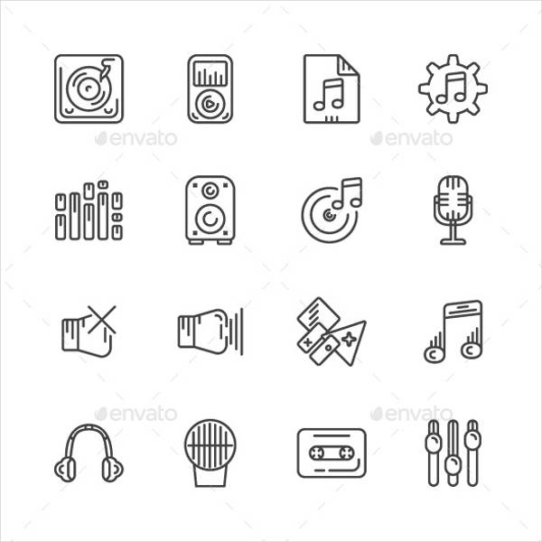 music outline icons