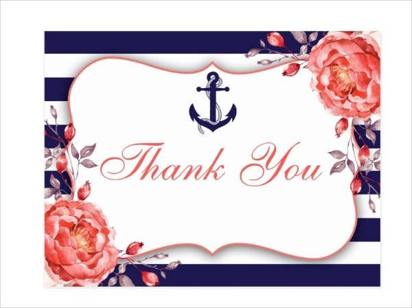 Nautical Bridal Shower Thank You Card