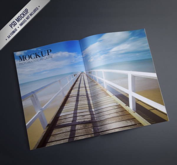 Open Magazine Mockup Design