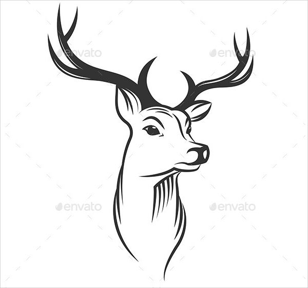 Outline Deer Head Silhouette