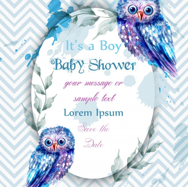 Owl Baby Boy Shower Invitation Template