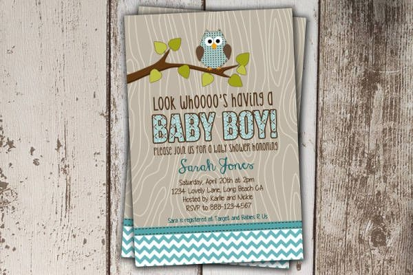 Owl Baby Boy Shower Invitation