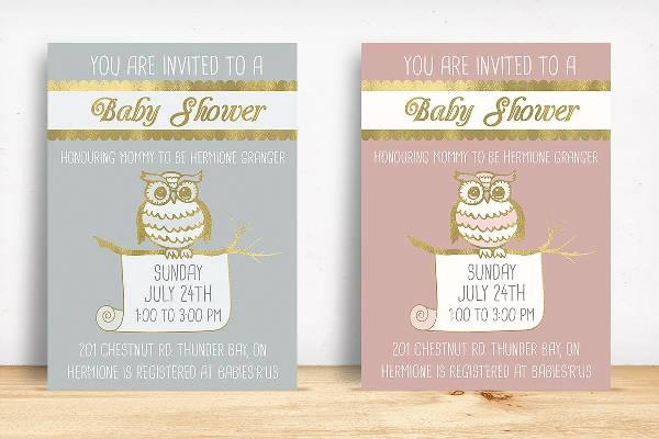 Owl Baby Shower Girl Invitation