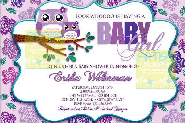Owl Girl Baby Shower Invitation