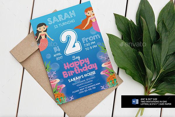 PSD Mermaid Party Invitation