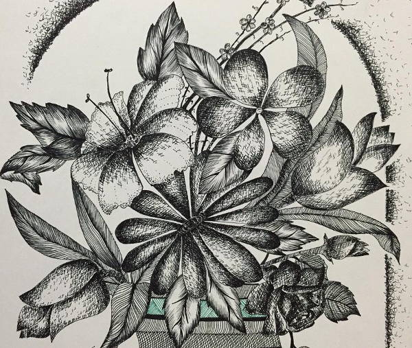 Pen Drawing of Flowers