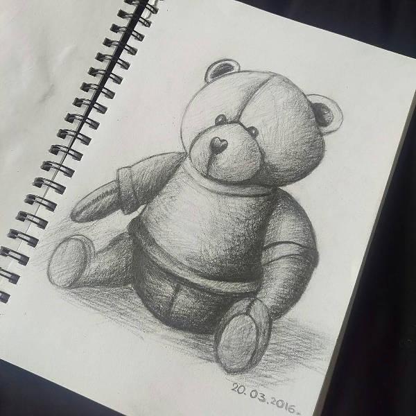 Pencil Drawing of a Teddy Bear