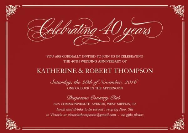 Personalized Anniversary Invitation