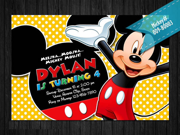 Personalized Mickey Mouse Invitation
