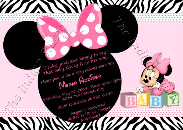 Personalized Minnie Mouse Baby Shower Invitation